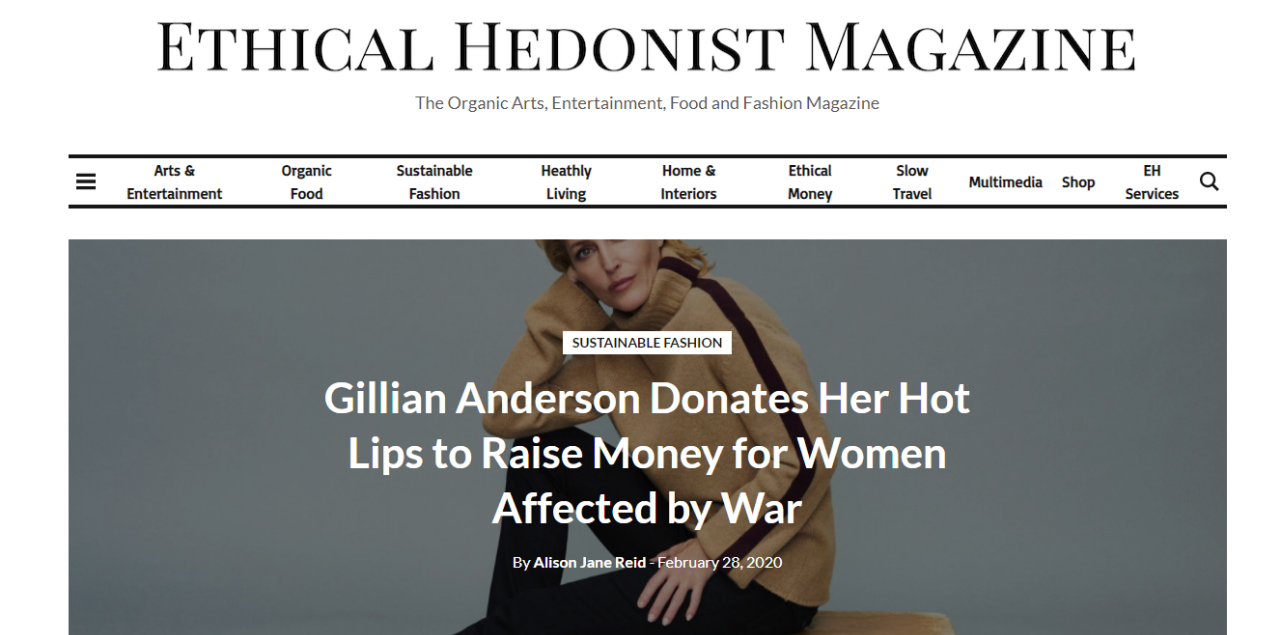 Gillian Anderson Donates Her Hot Lips to Raise Money for Women Affected by War