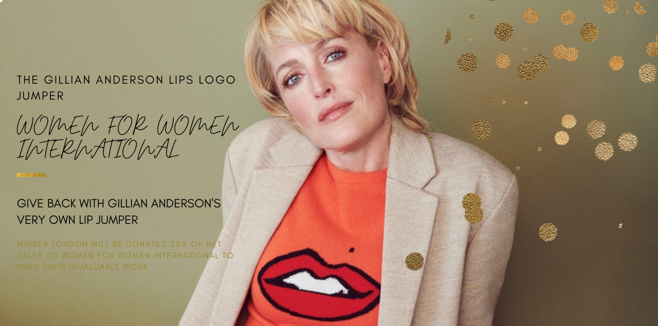 WOMEN FOR WOMEN INTERNATIONAL - Give back with Gillian Anderson's very own Lip jumper