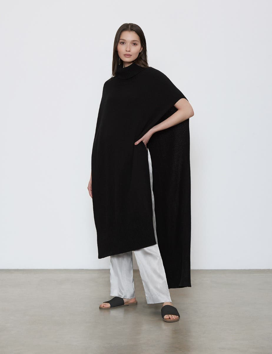 RECYCLED CASHMERE MIDI PONCHO