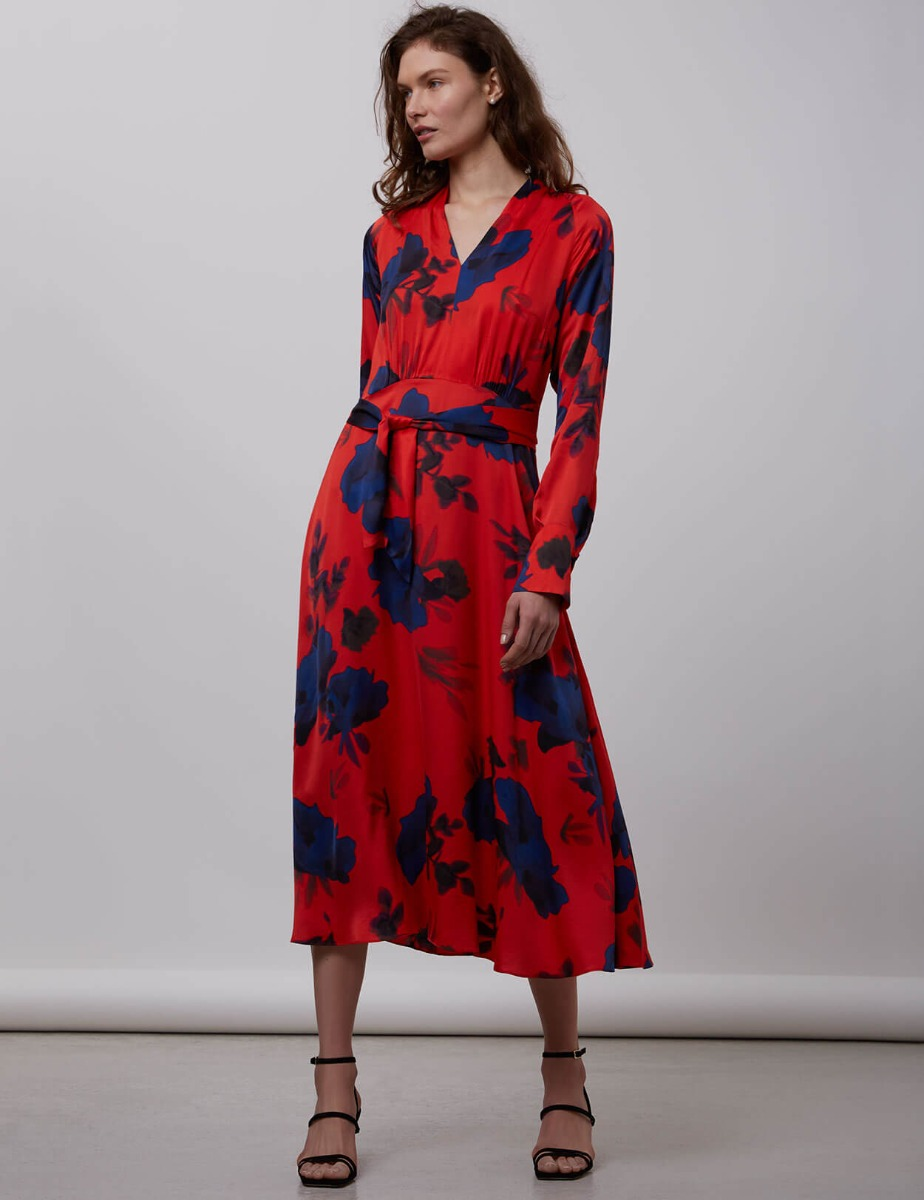 SATIN FLOWER PRINT DRESS WITH BOW