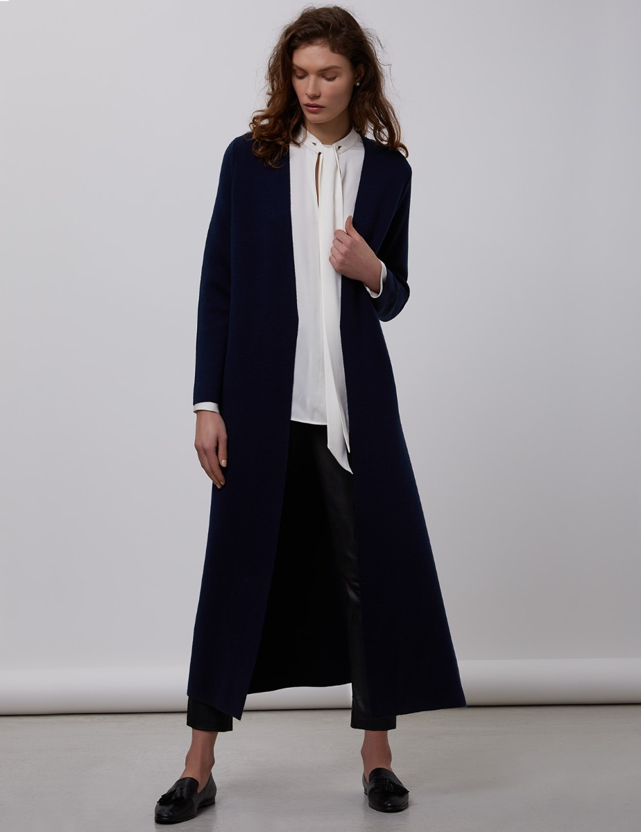 Merino Wool Midi Cardigan Coat