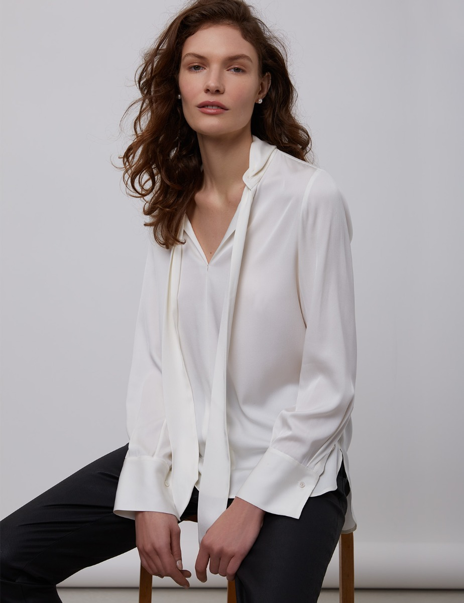 STELLA SILK BLOUSE WITH BOW