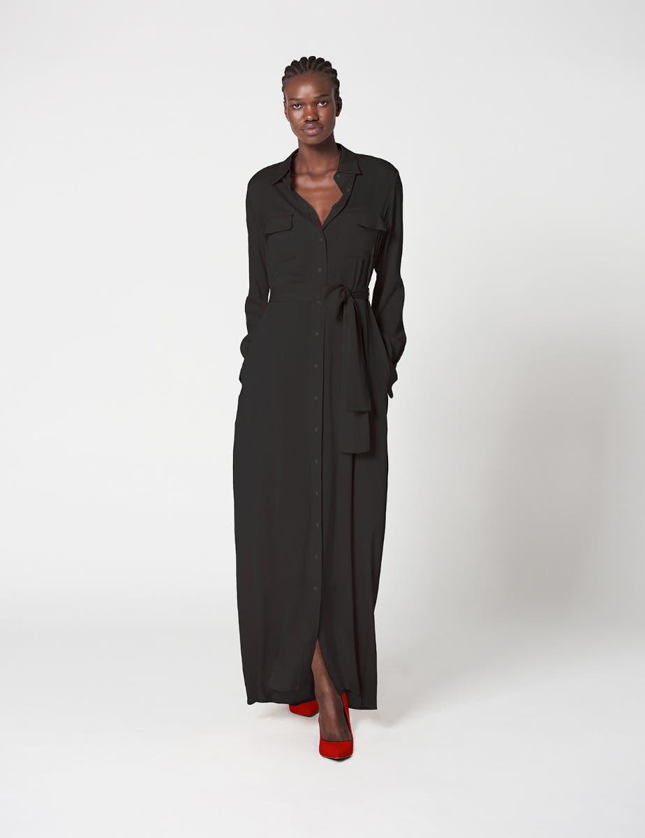 MAXI SILK SHIRT DRESS