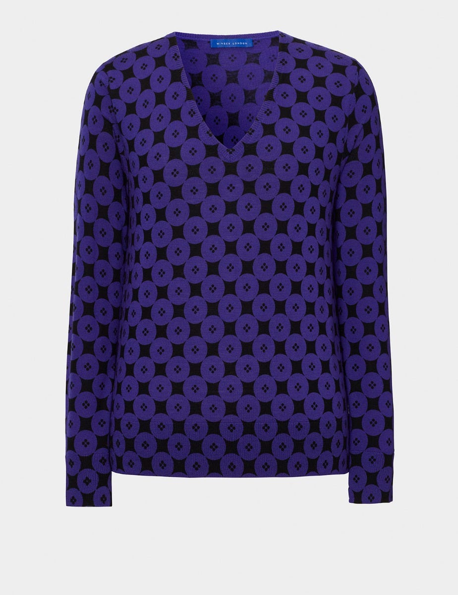 BUTTON PRINT MERINO WOOL JUMPER