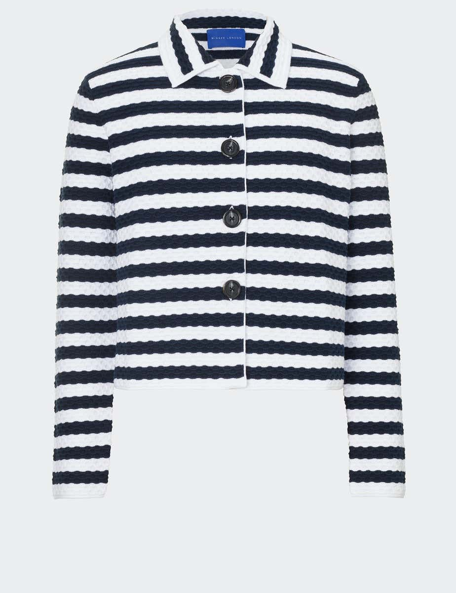 TEXTURED STRIPED COTTON JACKET