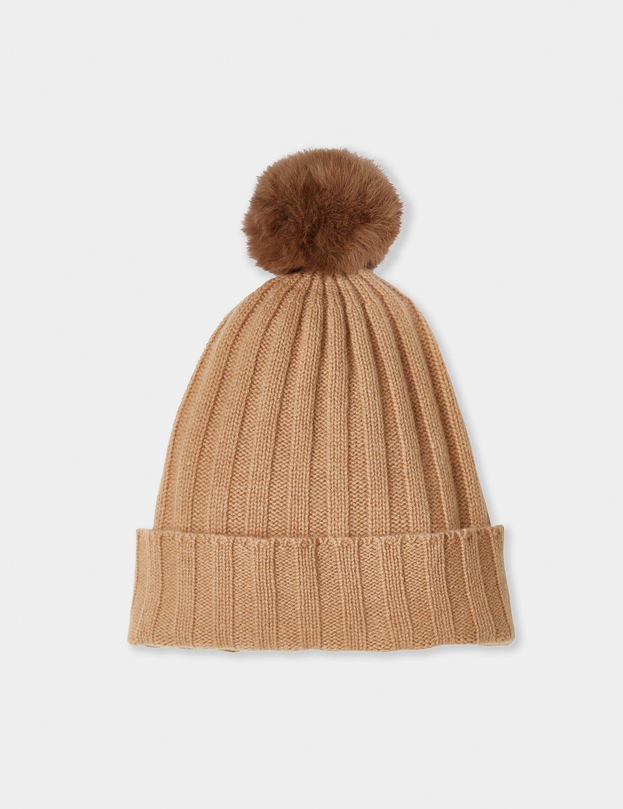 Cashmere Hat with detachable pom pom