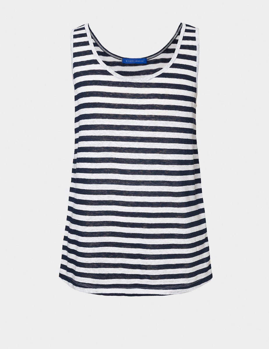 PURE LINEN STRIPED VEST TOP