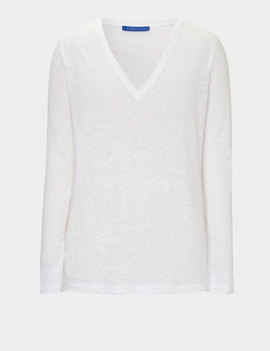 PURE LINEN V NECK TOP