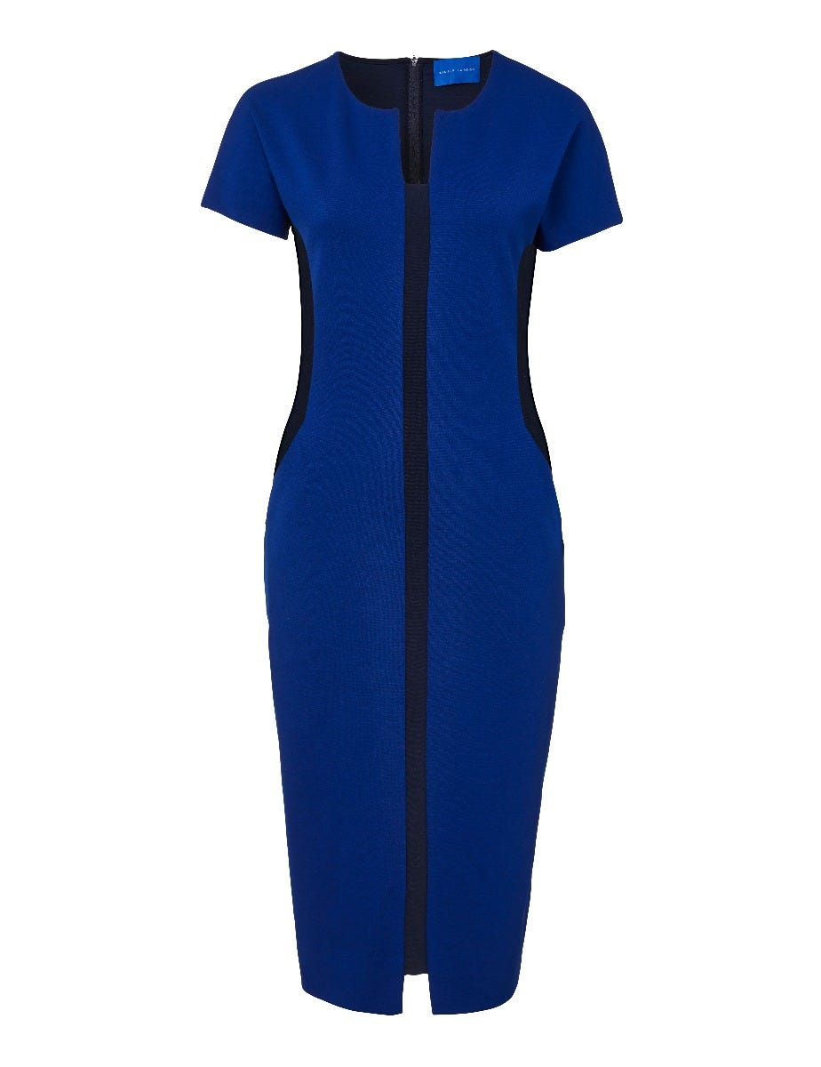 MIRACLE COLOUR BLOCK FITTED DRESS