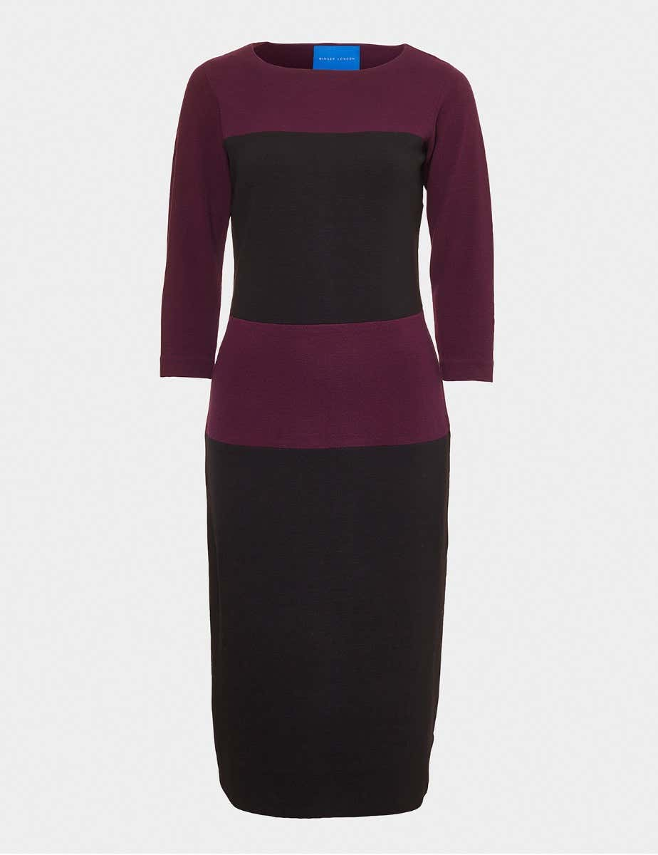 CREPE JERSEY COLOUR BLOCK SHIFT DRESS