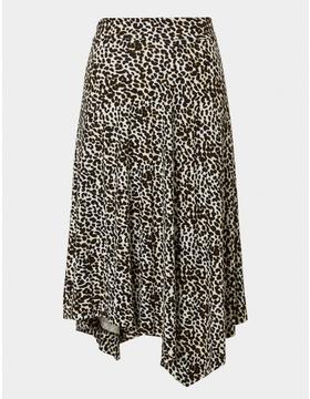 Leopard Print Asymmetric Skirt