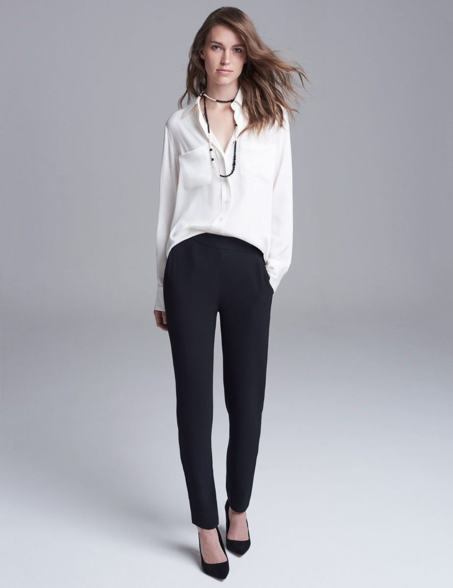 SATIN-BACK SPORTY STRAIGHT LEG TROUSERS