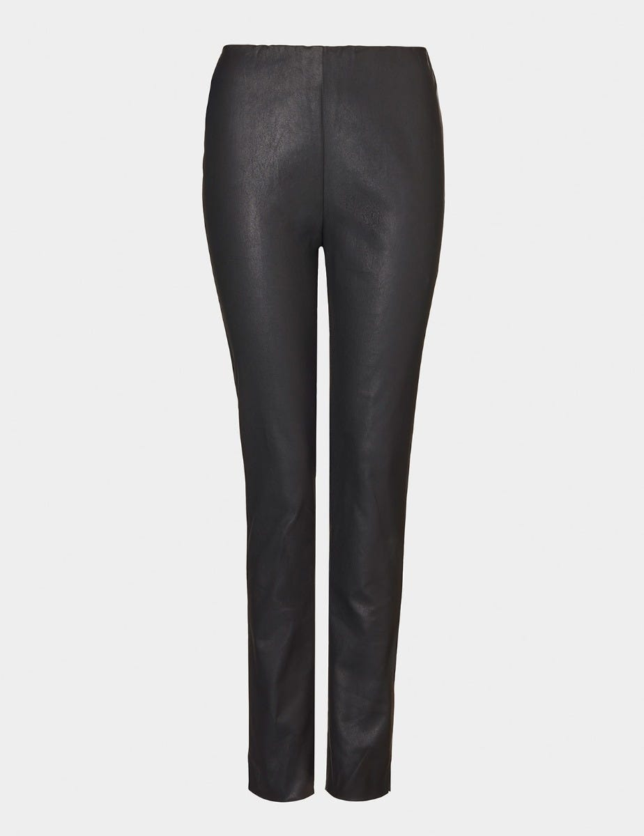 FAUX LEATHER SLIM TROUSERS