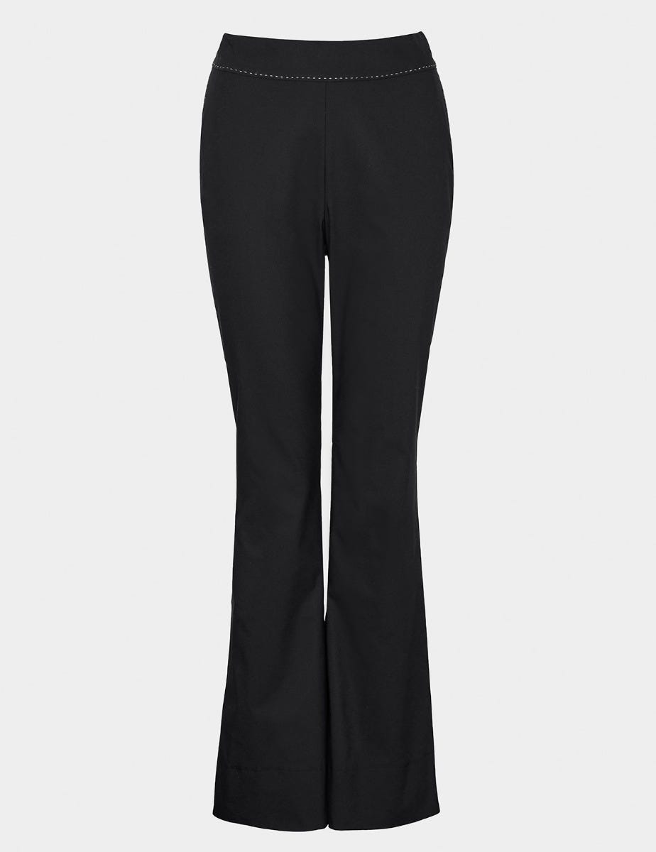 COTTON TWILL FLARED TROUSERS
