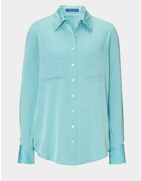 The Tilda Silk Shirt - Soft Turquoise