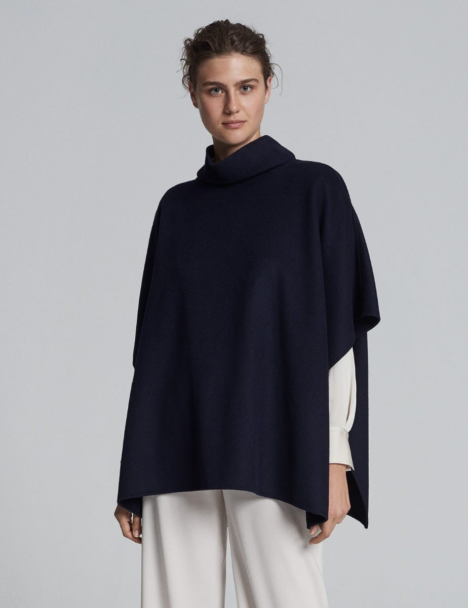DOUBLE FACE WOOL PONCHO