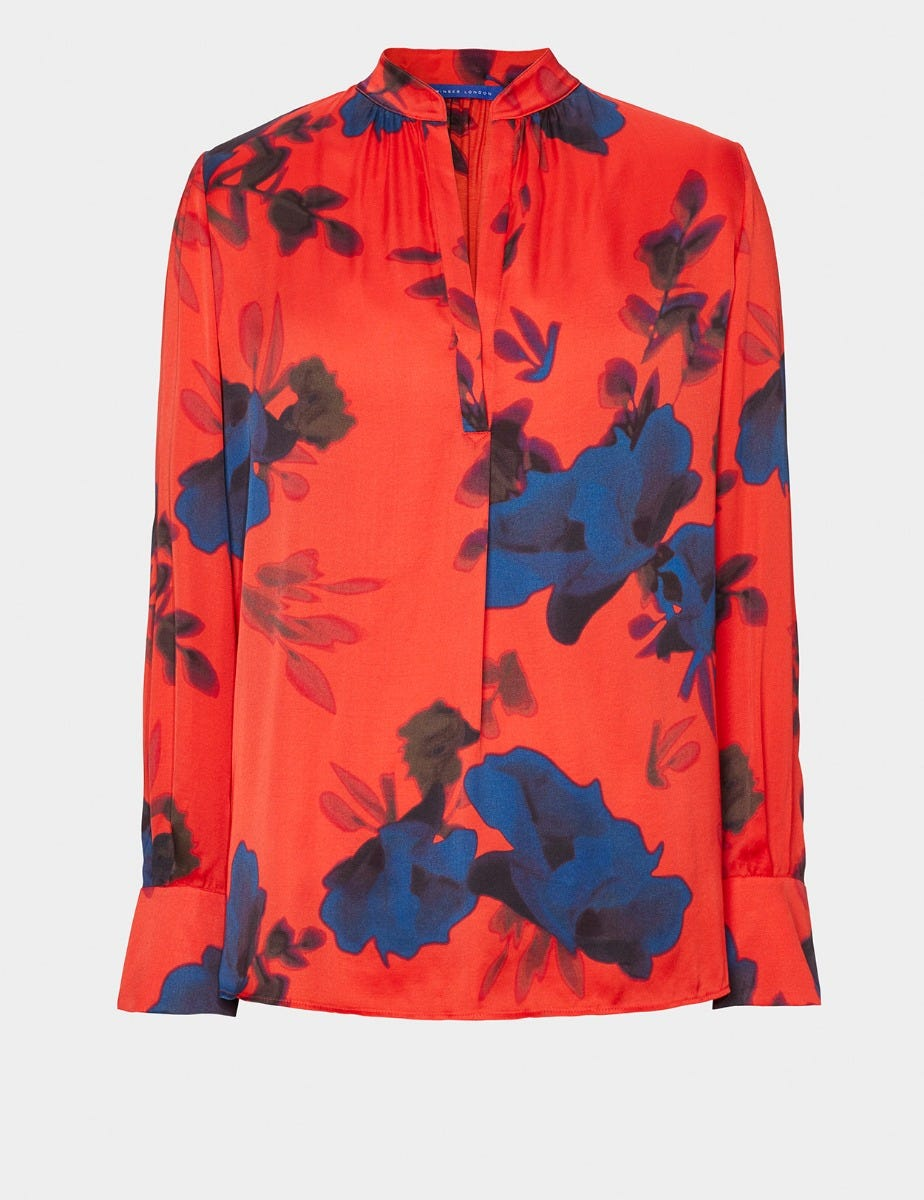 SATIN FLOWER PRINT BLOUSE