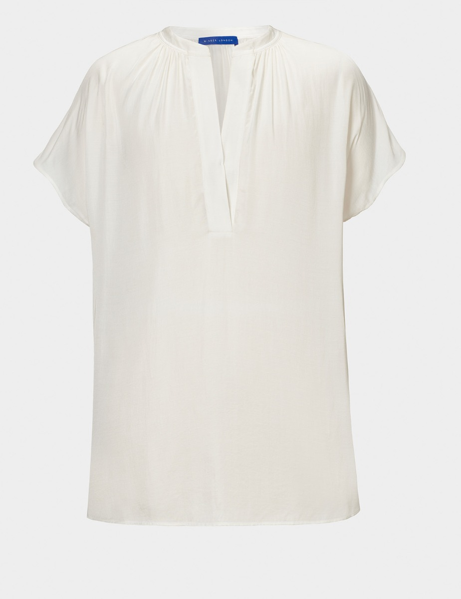 V NECK SATIN TOP
