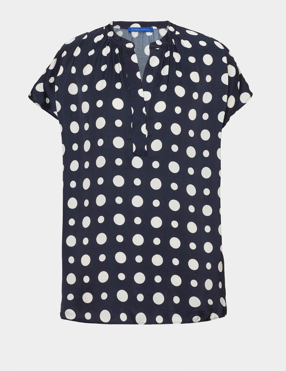 V NECK SPOT SATIN TOP