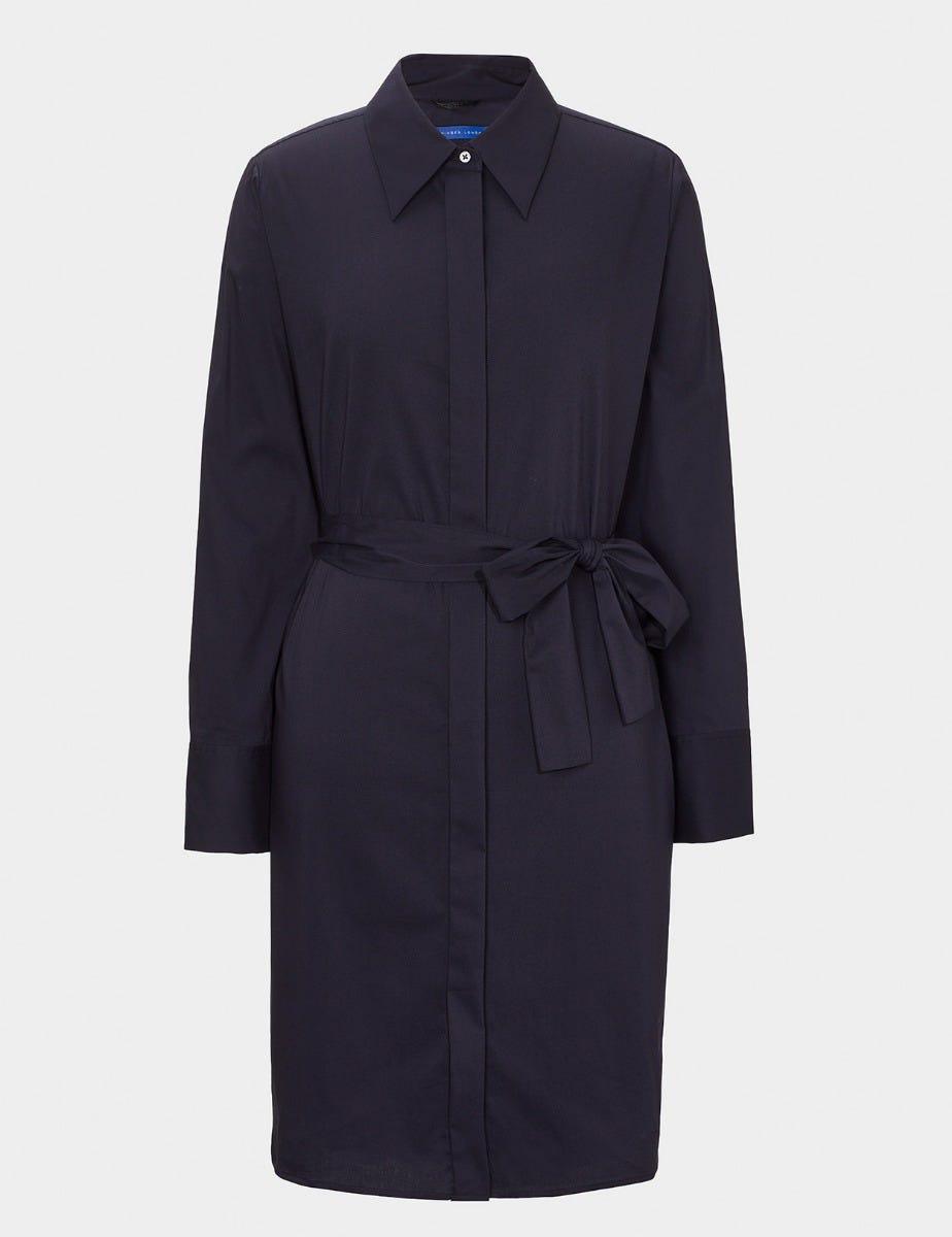 BELTED COTTON POPLIN SHIRT DRESS