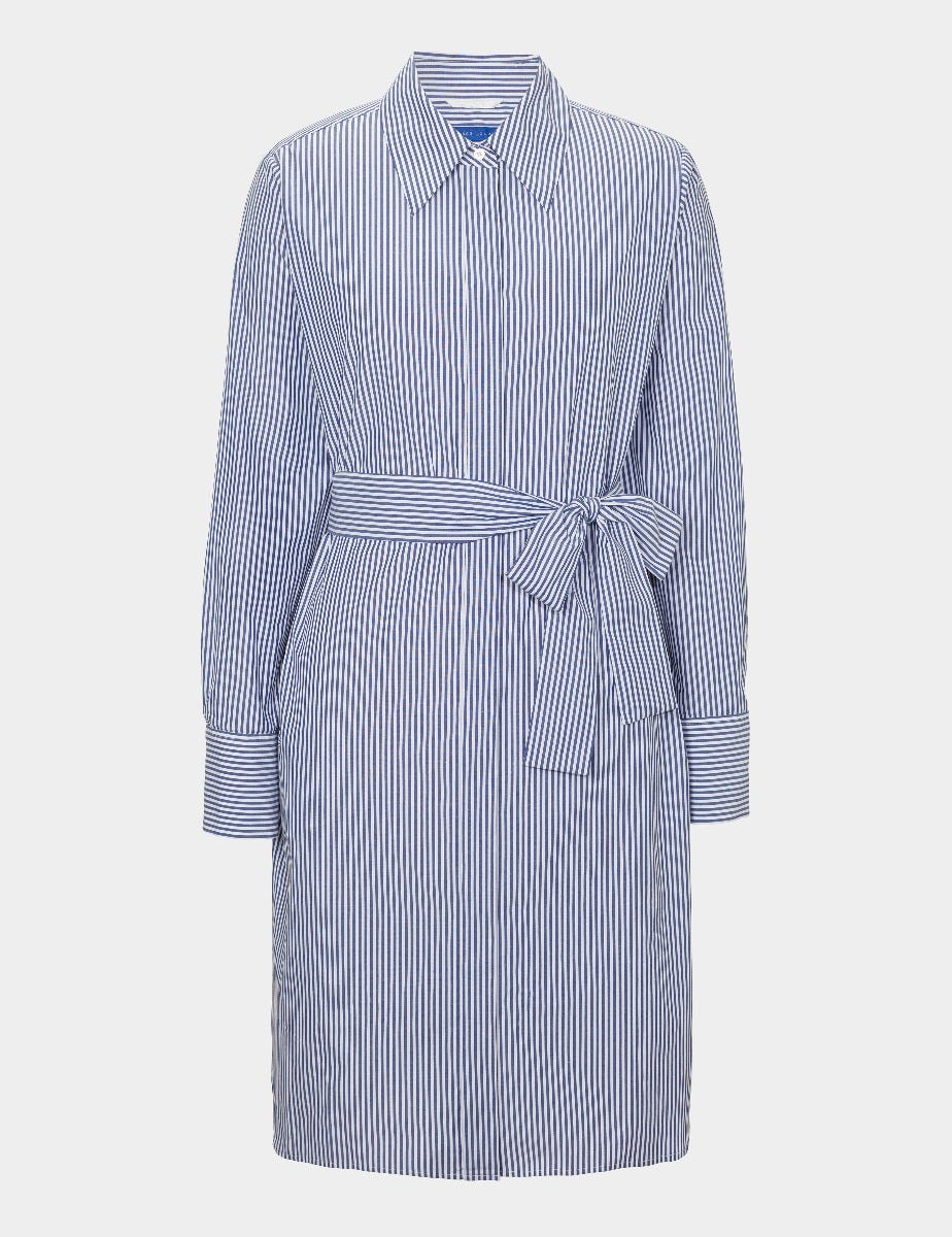 COTTON POPLIN STRIPED SHIRT DRESS