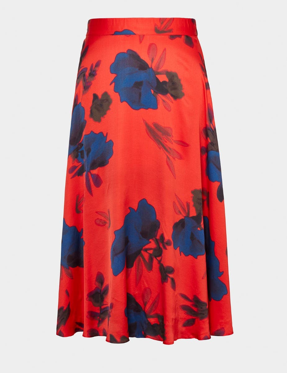 SATIN FLOWER PRINT MIDI SKIRT