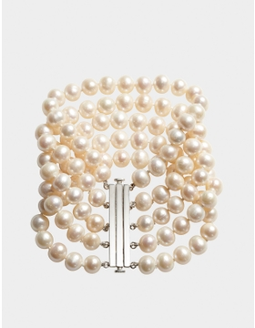 FRESHWATER PEARL FIVE-STRAND BRACELET WITH PURE SILVER CLASP
