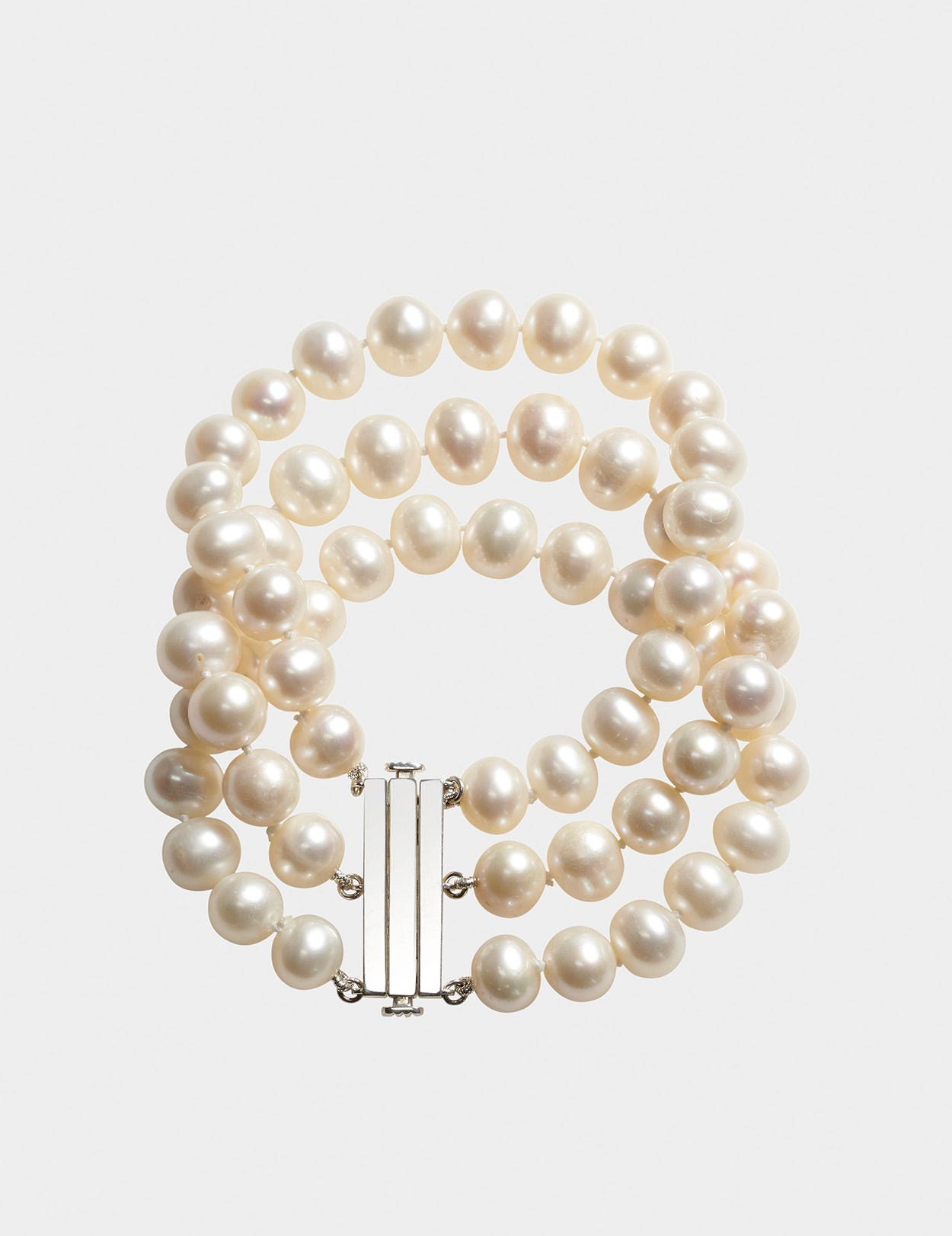 FRESHWATER PEARL THREE-STRAND BRACELET WITH PURE SILVER CLASP